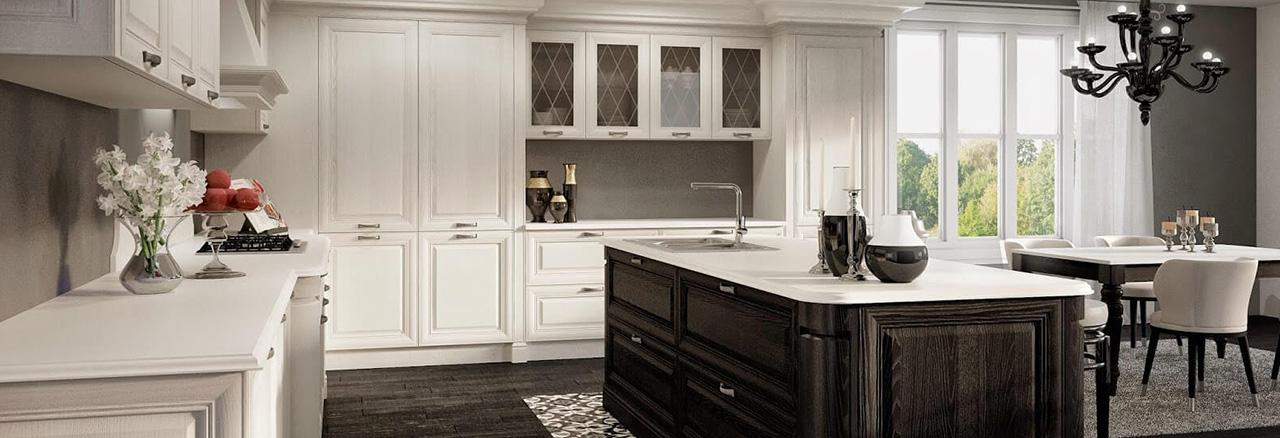 Кухня черно белая