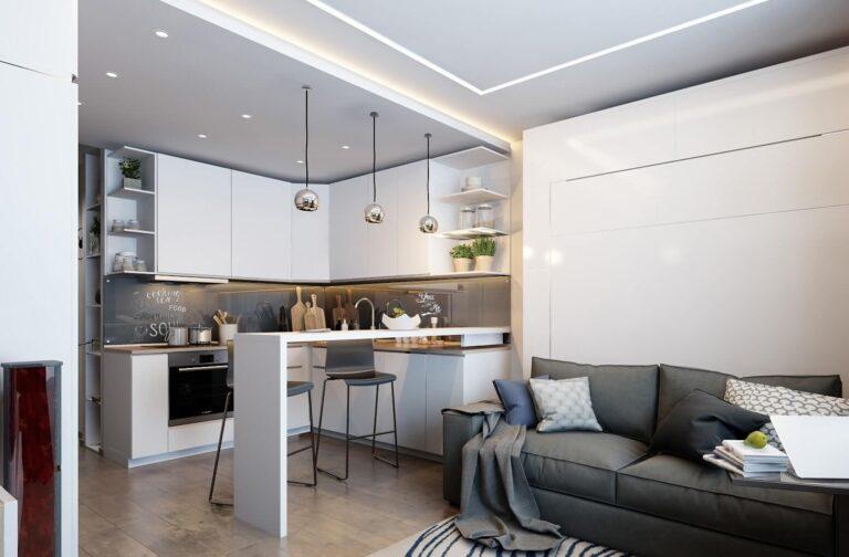 Кухня белая с диваном