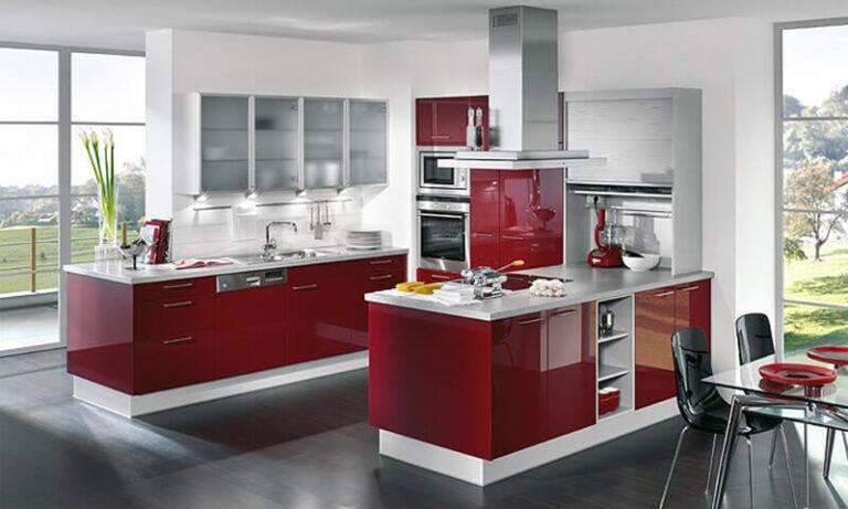 Акриловая кухня красная